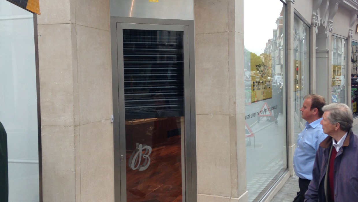 Breitling Shop, Bond Street - Albany Interiors - Stainless Steel Sign Laser Profiling